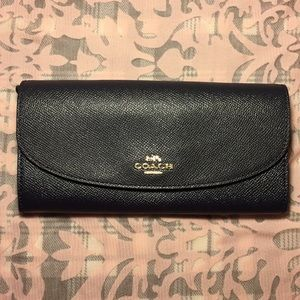 Coach Midnight Leather Slim Envelope Wallet